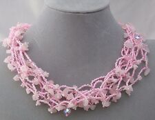 Chunky Pink Czech Glass Bead Stone Chip Necklace Magnetic Fashion Jewelry NEW