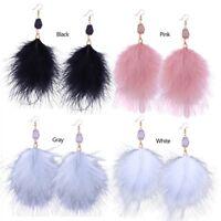 Women Feather Tassel Long Drop/Dangle Hook Bohemian Earrings Jewelry 4 Colors