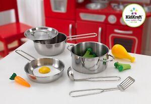 Kidkraft Deluxe Cookware set   Silver Metal Pan Set Plus Accessories
