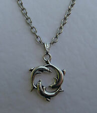 LITTLE DANCING DOLPHINS PENDANT & CHAIN SILVER PLATED WILDLIFE SEA SURF 90'S