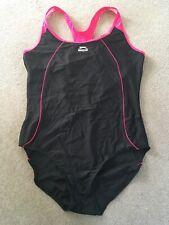 BNWT SLAZENGER Swimsuit Swimming Bathing Costume Black Pink Racer Back UK 20