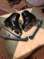Riedell Silver Star Black Figure Skates SZ 3 MK Sheffield Steel 9 Blades USA !!!
