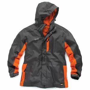 Scruffs Black Worker Jacket Men's Workwear Waterproof Raincoat Work Coat Grey