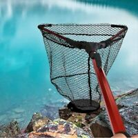 Fishing Net Folding Portable Handle Fish Landing Nets-Nylon Mesh Trap