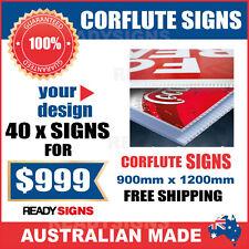 Custom Corflute Signs Bulk 40 X 900mm x 1200mm x 5mm  - Australian Made