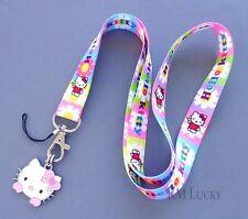 Neck Lanyard Keychain ID Cell phone Holder Strap w/ Dangle charm Hello Kitty B12