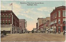 Broadway West From Second Street in Muskogee OK Postcard 1913