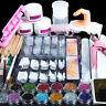 Acrylic Nail Art Kit Set Tools Nail Tips Glitter Powders Pump Nail Brush US Post
