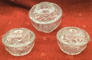Set of 3 Vintage Pressed Glass Lidded Trinket Dishes