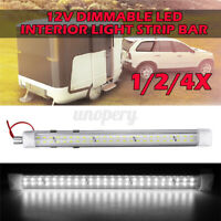 48 LED Dimmable Interior Light Strip Bar Car Van Bus Caravan ON/OFF