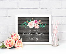 Rustic Floral Garden Wedding Shower Welcome Candy Buffet Party Sign Decorations