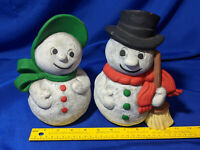 Handpainted Ceramic Mr Mrs.Frosty Snowman Santa Gare Inc 1976 VTG Bisque Holiday