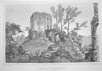 GERMANY Saxony Ruins of Liebenstein Castle - 1860 Original Engraving Print