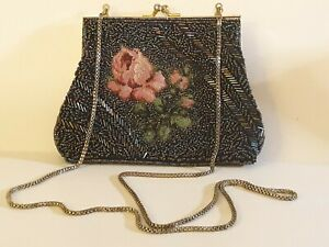 Vintage Black Beaded Purse With Embroidered Rose