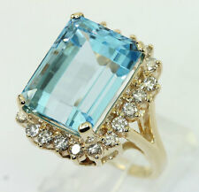 Diamond blue topaz halo ring 14K y/ gold VS round brilliant emerald cut 19.75CT!
