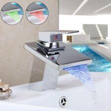 LED Bathroom Waterfall Basin Sink Faucet Deck Mounted Single Handle Vanity Tap