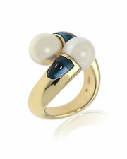 Mikimoto 18k White Gold, White South Sea Pearl And Blue Topaz Cocktail Ring Sz 7