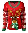 Women's RUDOLPH Tinsel Holiday Party Ugly Christmas Xmas Sweater Sz M A886