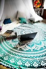 Green Ombre Mandala Round Table Cover Hippie Indian Tapestry Round Wall Hanging