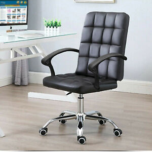 Comfy Office Desk Computer Chair Padded Seat Swivel Lift Chair PU Leather Chair