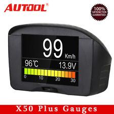 Autool X50 Plus Car OBD2 Gauges HUD Head Up Display KMH MPH Speedometers 2.4''