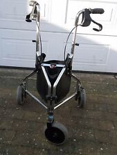Invacare P429/2c Tri Wheel Chrome Walking Mobility Aid With Brakes and Bag.