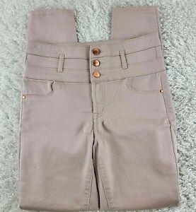 Refuge mauve pink high rise skinny jeans SIZE 2 copper buttons stretch (V)