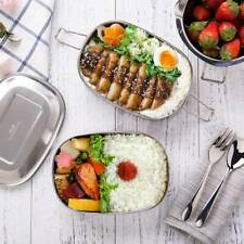 G.a HOMEFAVOR Stainless Steel Lunch Box 2 in1 Silver Food Container 1000ml Bento