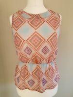 Womens Influence Summer Peplum Vest Top Blouse Pink Blue Chiffon, collar size 12