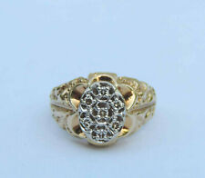 Men's Seven Genuine Diamond Oval Cluster Ring w/ Nugget Accent - 10K Yellow Gold