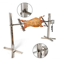 BBQ Stainless Steel Grill Barbecue Pig Chicken Rotisserie Spit Roaster 15W Motor