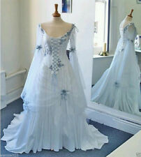 Celtic Wedding Dress Blue Medieval Bridal Gowns Corset Butterfly Sleeve Custom