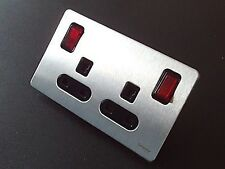 Schneider 2G 13A DP Non Standard Double Twin Neon Red Rocker Switched Socket S/S