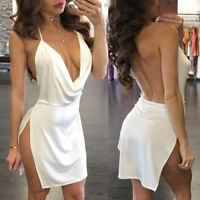 Mini Bodycon Sexy Women Low Cut Cocktail Backless Evening Party Short Dress