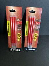 2 Pilot Frixion Gel Ink Refills For Erasable Pens Fine Point Red Ink 6 Pack