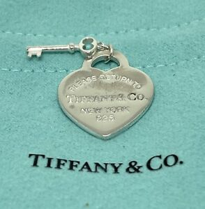 Authentic Return to Tiffany & Co Heart Tag + Key Sterling Silver Charm Pendant