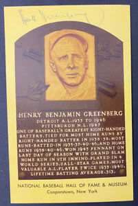Hank Greenberg Signed Baseball Hall of Fame Postcard Detroit Tigers Jewish WWII