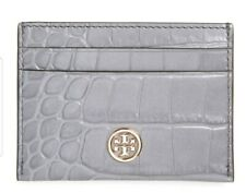 New Tory Burch Robinson Slim Card Case Gray Embossed Leather ID Wallet Holder