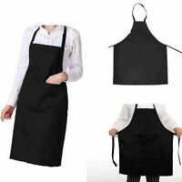 Black chef Apron Kitchen Waterproof Pocket Catering Cooking Butcher Unisex Gowns