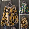 Vintage Femme Shirt Ample Impression géométrique Manche Longue Haut Tops Plus