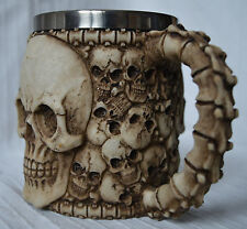 Metal Tankard 3D Skull Face skeleton head gothic cup mug pagan spine bone handle