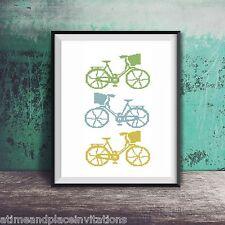 Silhouette Bike Beach Cruiser Basket Blue Green Counted Cross Stitch Pattern