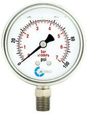 2 12 Pressure Gauge Stainless Steel Case Liquid Filled Lower Mnt 100 Psi