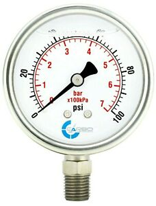 "2-1/2"" Pressure Gauge, Stainless Steel Case, Liquid Filled, Lower Mnt 100 PSI"