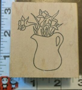 Lilies in pitcher,176,Gina k. Designs,wooden,rubber,stamp