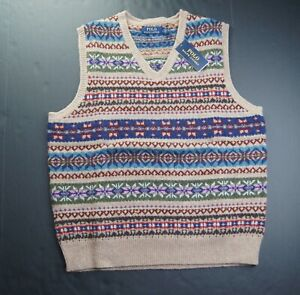POLO RALPH LAUREN Men's Wool Cashmere Blend Fair Isle Sweater Vest NEW NWT