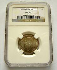 c524 ROMANIA 1 LEU 1911 KM#42 MS64 NGC ENCAPSULATED SILVER COIN UNC