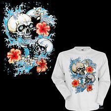 * Tiki Surfing Rockabilly Surf Skull Surfer  T-Shirt *3134 wh LS