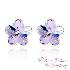 18K White Gold GP Made With Swarovski Crystal 10mm Purple Flower Stud Earrings