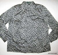 LAUREN RALPH Leopard Print SHIRT Womens PLUS 1X 14 16 Button Down Gray Animal